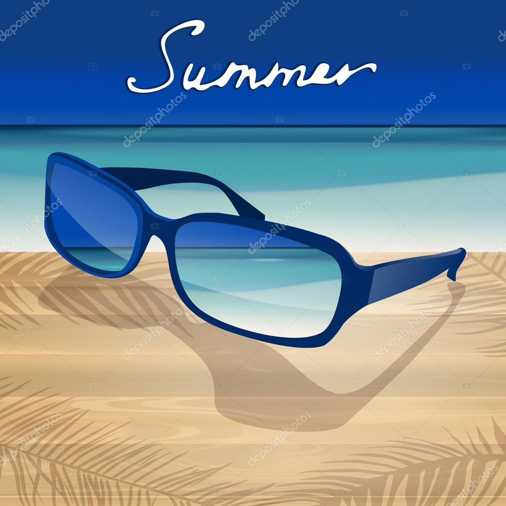 Summer background with blue sunglasses.