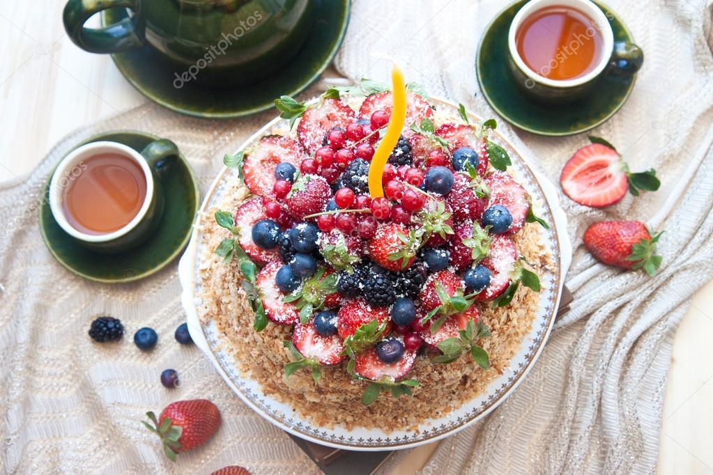 Napoleon Cake Decorated With Fresh Berries Strawberries