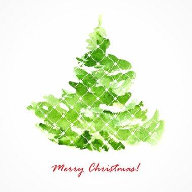Christmas tree. Watercolor illustration. Christmas festive card.
