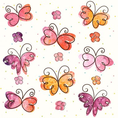 Background with hand-drawn butterflies. Vector illustration clip art vector