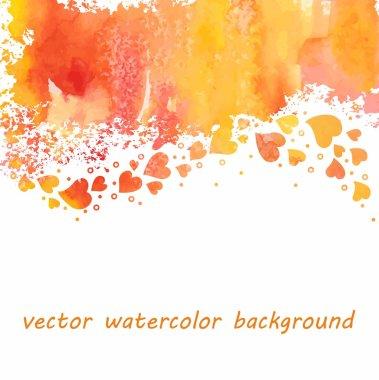 Watercolor heart background clip art vector
