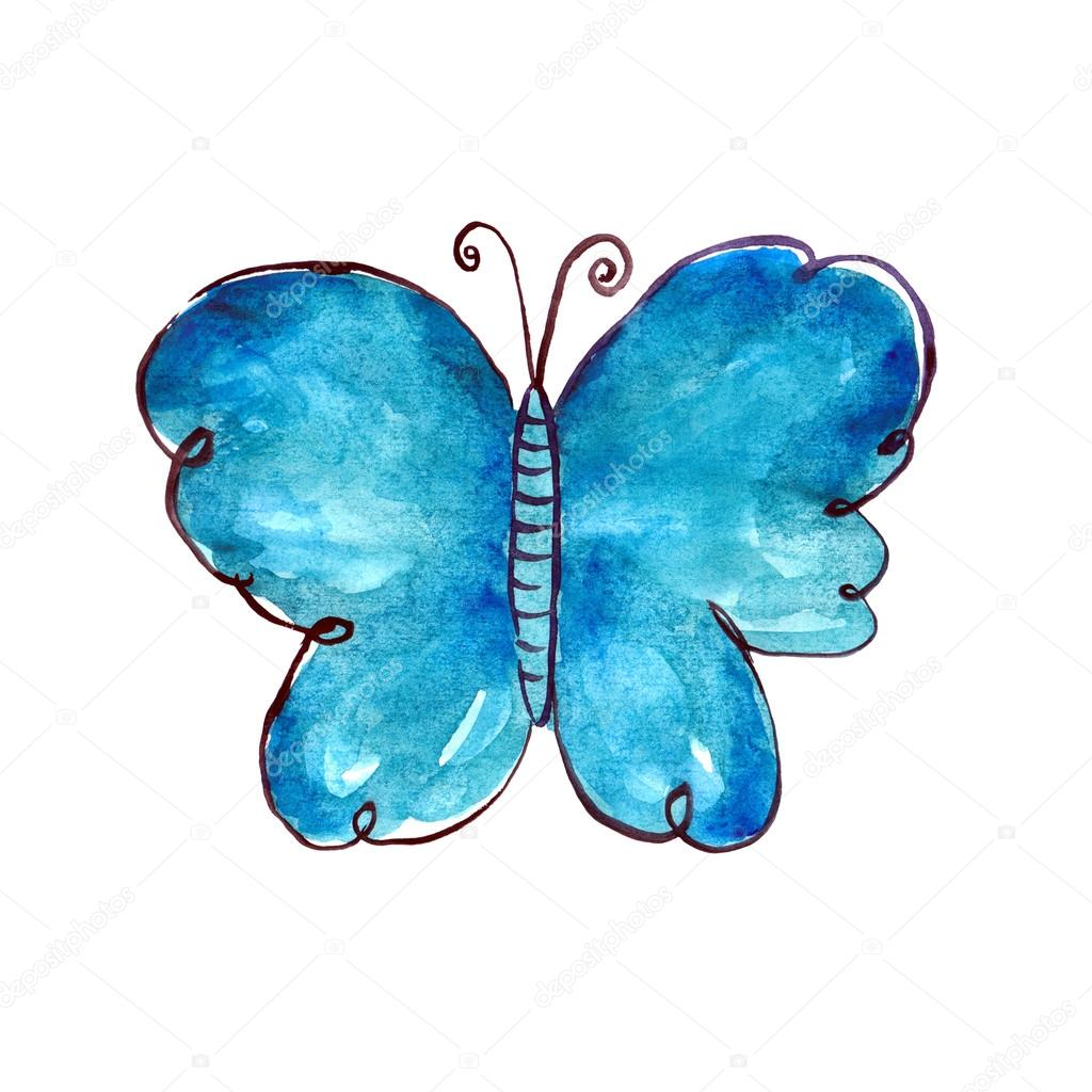 Modry Motyl Akvarel Stock Fotografie C Oaurea 49704731