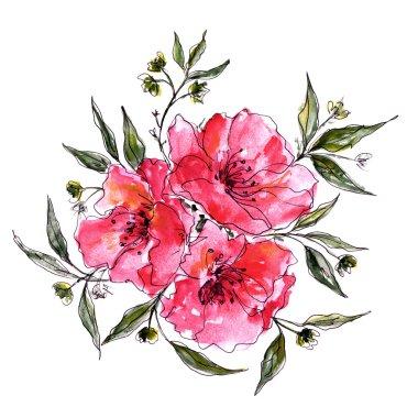 Watercolor floral decoration