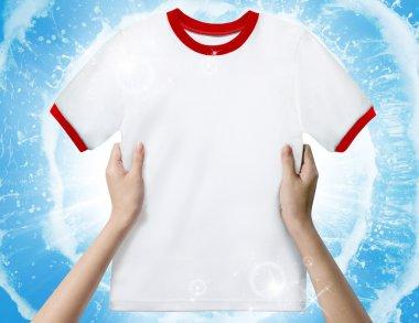 Hand hold White shirt