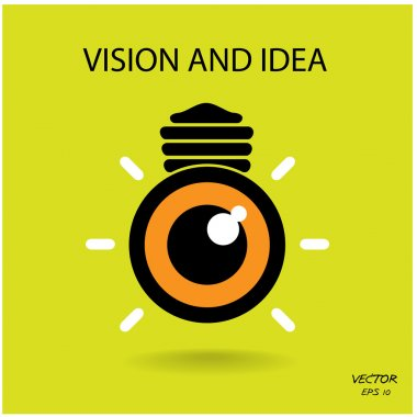 Vision and ideas sign,eye icon and busines logo, light bulb symb