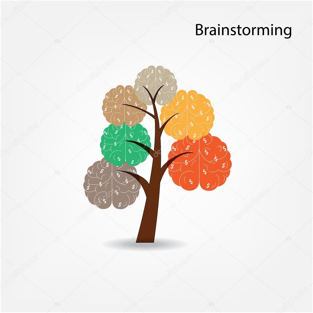 Brain tree illustration, tree of knowledge, medical, environment