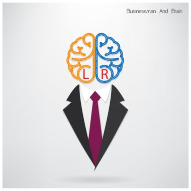 businessman symbol with left and right brain sign