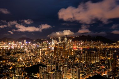 Brilliant night scene of Hong Kong with Victoria Harbour