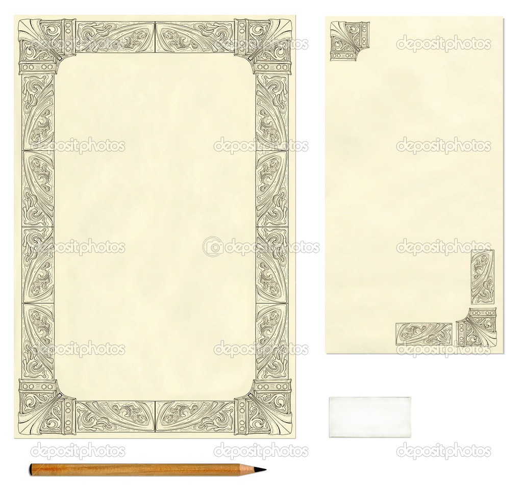 old paper letter template stock photo