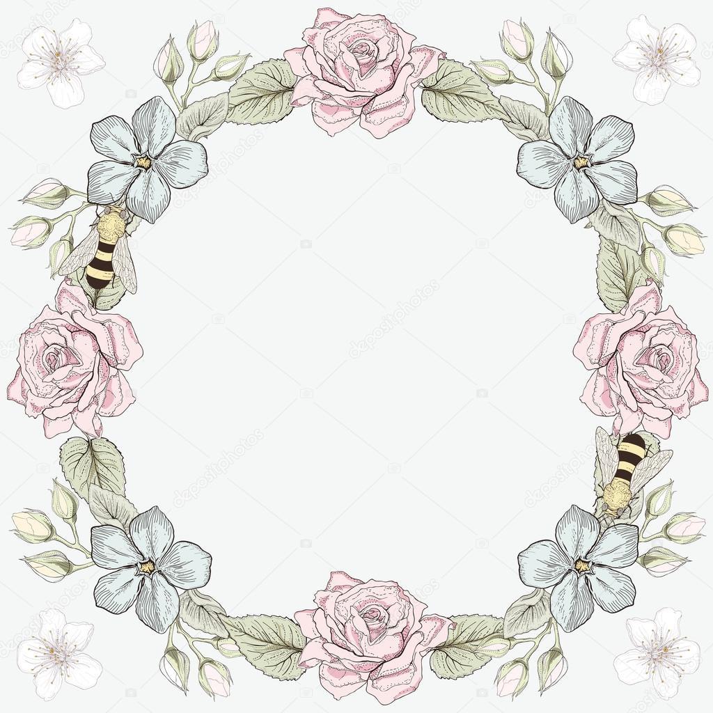 marco flores y abejas grabado estilo — Archivo Imágenes Vectoriales ...