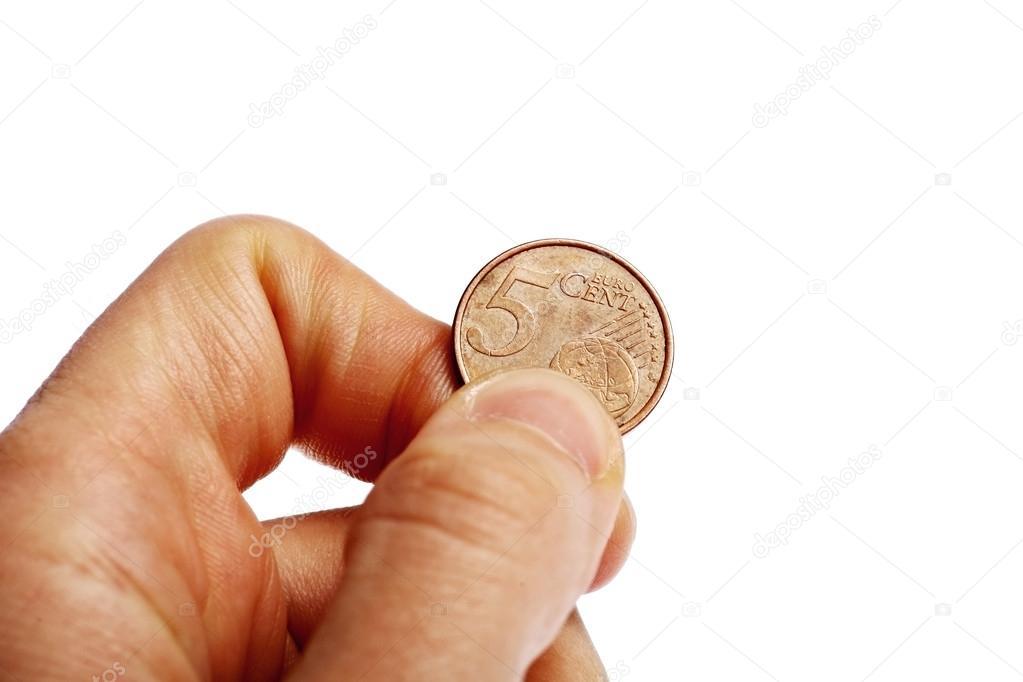 Hand Die 5 Euro Cent Münze Stockfoto Roibu 41297479