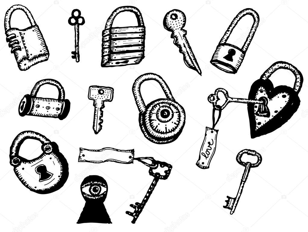 Set di icone lucchetto e chiavi di sicurezza vettoriali - Chiavi di sicurezza ...