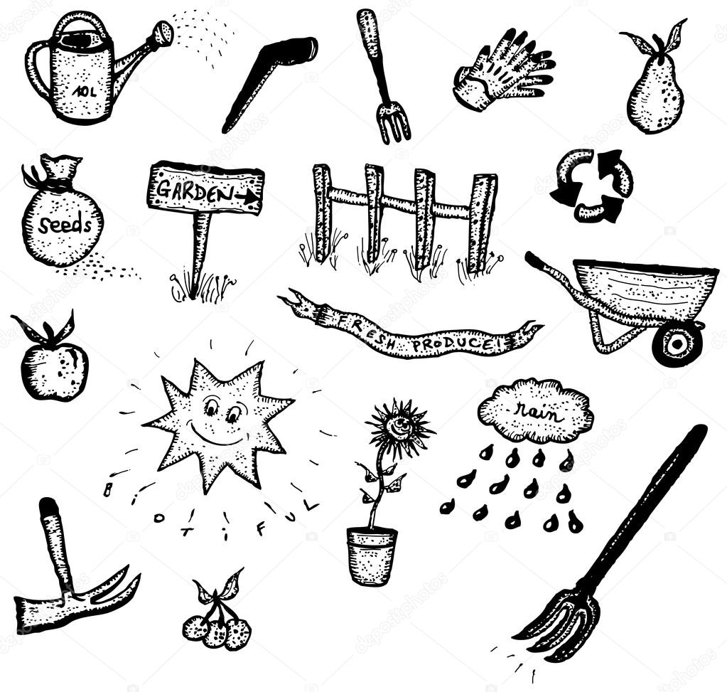 Doodle Set Of Gardening And Green Elements