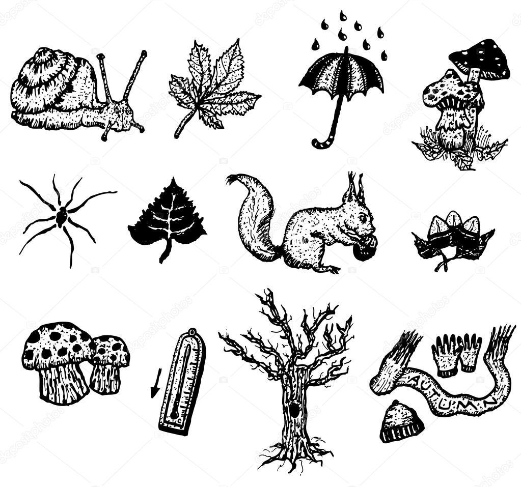 Doodle Set Of Autumn Icons