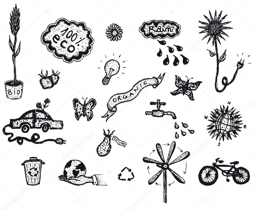 Hand Drawn Bio And Ecology Icons