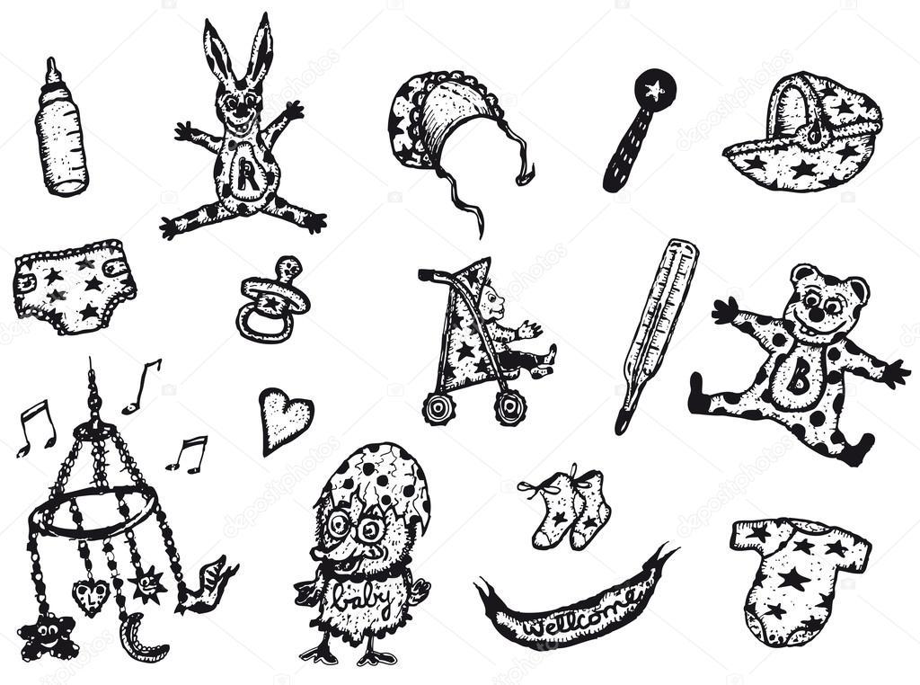Doodle infantil y bebés conjunto de iconos — Archivo Imágenes ...
