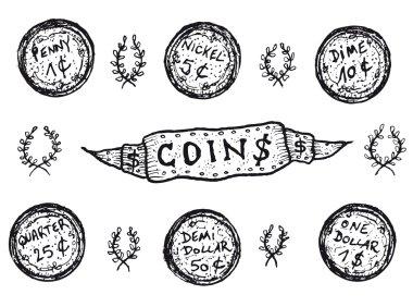 Doodle Set Of US Coins