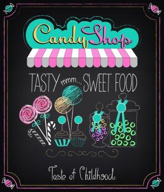 Candy Shop. Menu on the chalkboard