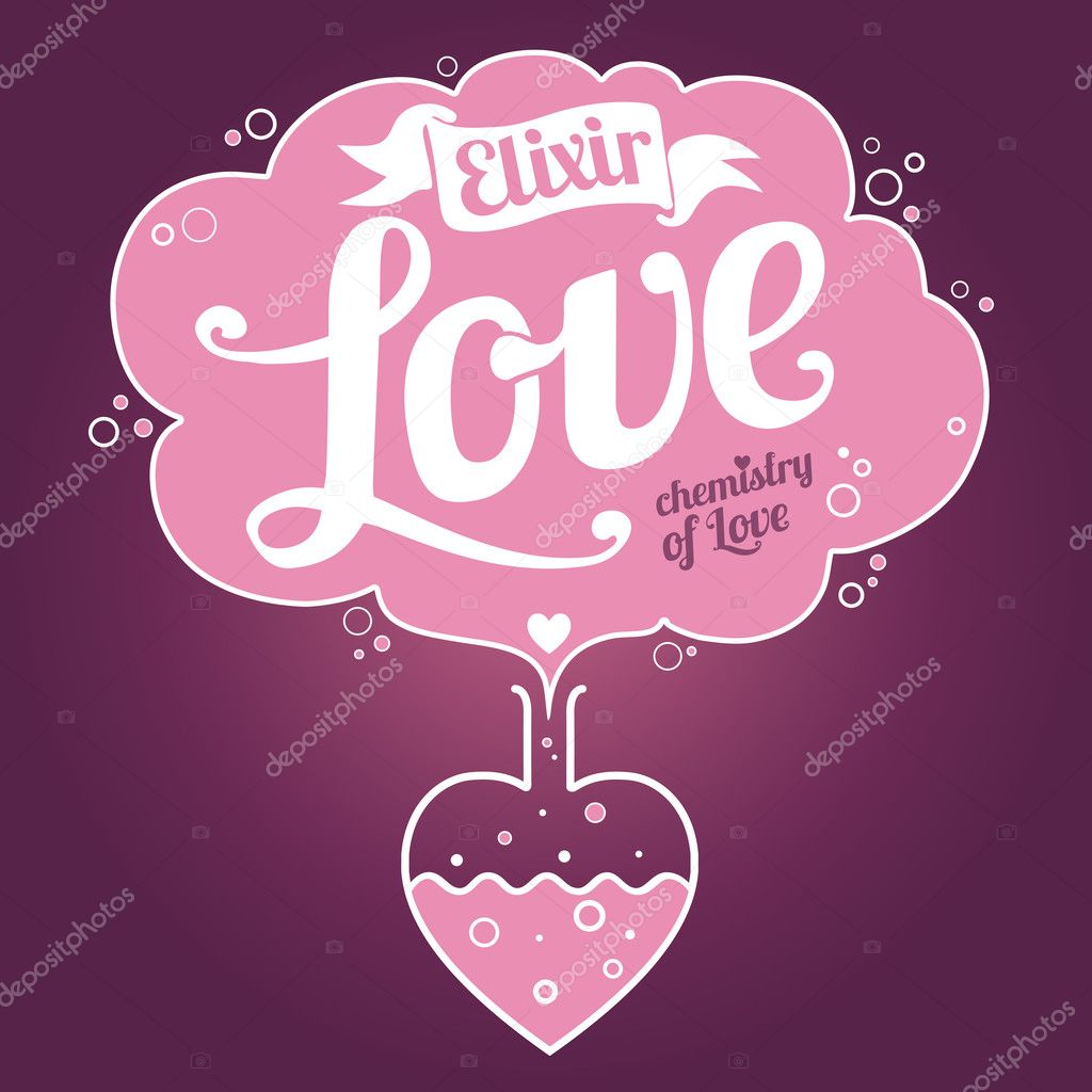 Elixir of Love background. Valentine's Day card clipart vector