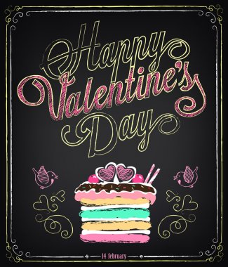 Vintage card with graphic elements for Valentine's Day. Chalking, freehand drawing