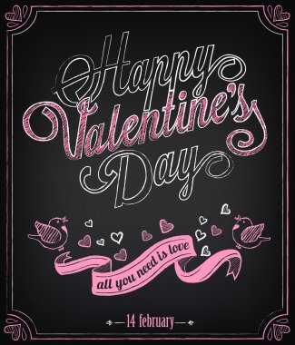 Vintage card with graphic elements for Valentine's Day. Chalking, freehand drawing clip art vector