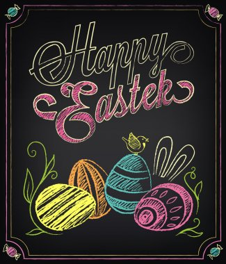 Happy Easter background. Vintage design hand lettering