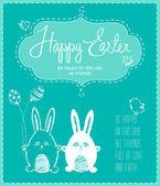 Fotografie hübsch glücklich Osterkarte mit lustigen Hasen, Eiern, Vögeln und Huhn