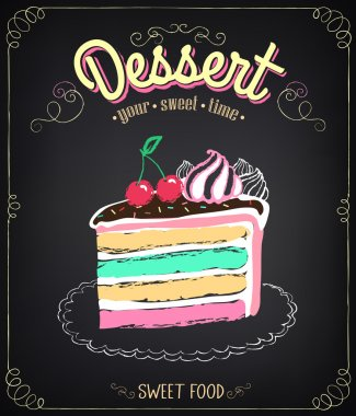 Dessert: cake. Chalking, freehand drawing