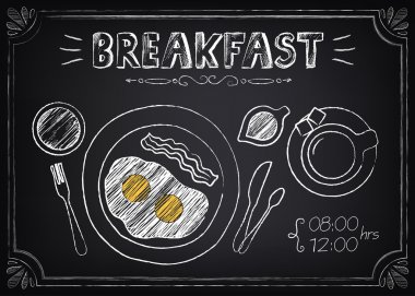 Vintage Poster - Breakfast. Freehand drawing on the chalkboard: fried eggs and coffee stock vector