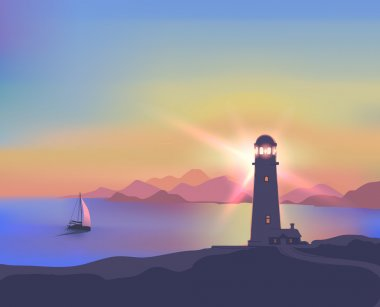 Illustration with a beautiful sunset, sea, lighthouse, ship, mountains
