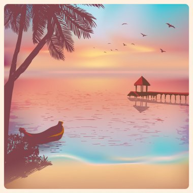 Vintage card with a beautiful sunset on a tropical beach