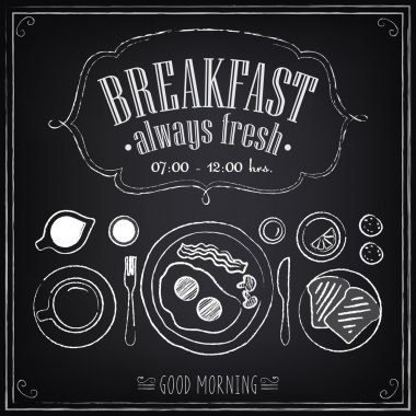 Vintage Poster. Breakfast. Set on the chalkboard. Sketches  for design in retro style stock vector