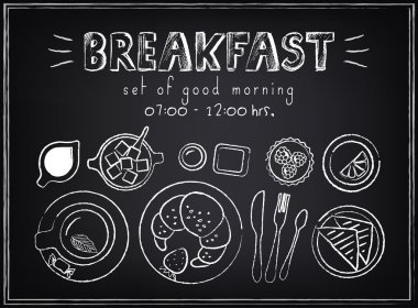 Vintage Poster. Breakfast menu. Sketches  for design in retro style