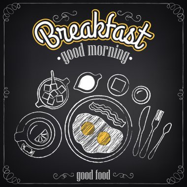Vintage Poster. Breakfast. Fried eggs, tea. Freehand drawing. Set of sketches