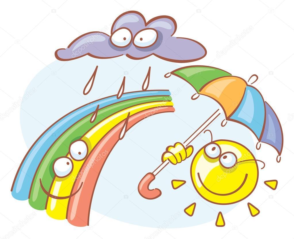Детские картинки солнышком и дождиком с радугой