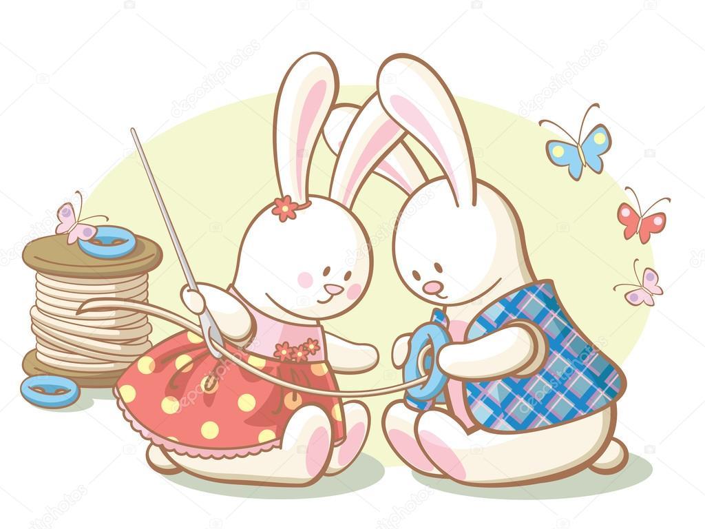 zwei weiße Kaninchen annähen ein Knopf an Jacke — Stockvektor ...
