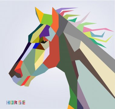 Horse head symbol of New Year 2014 trendy style geometric vector