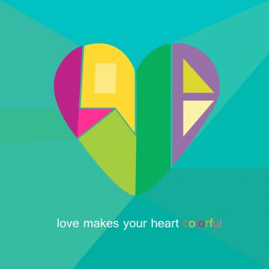 Love Heart Valentines day Greeting card geometric style and trendy colors with abstract word love in heart shape vector