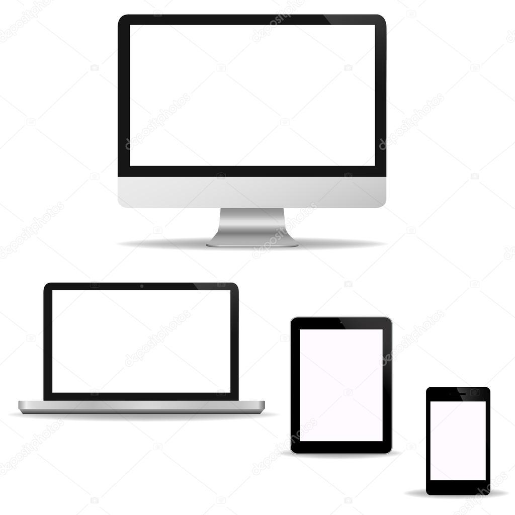 Jeu d'écran de technologie ordinateur - ordinateur portable, tablet pc,  smart téléphone nouveau technologie numérique conception Bureau en vecteur  — Vecteur ...