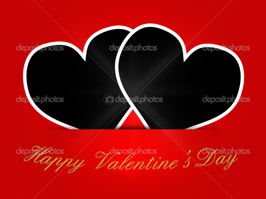 valentines card template with heart shaped blank stock photo