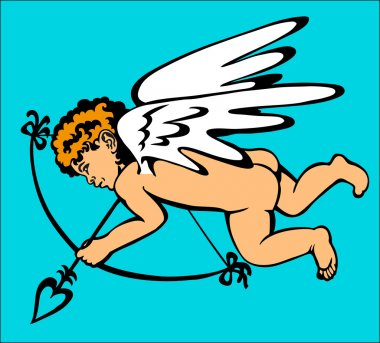 Picture of a small Dalmatian Cupid who shoots a bow on a blue background. clip art vector