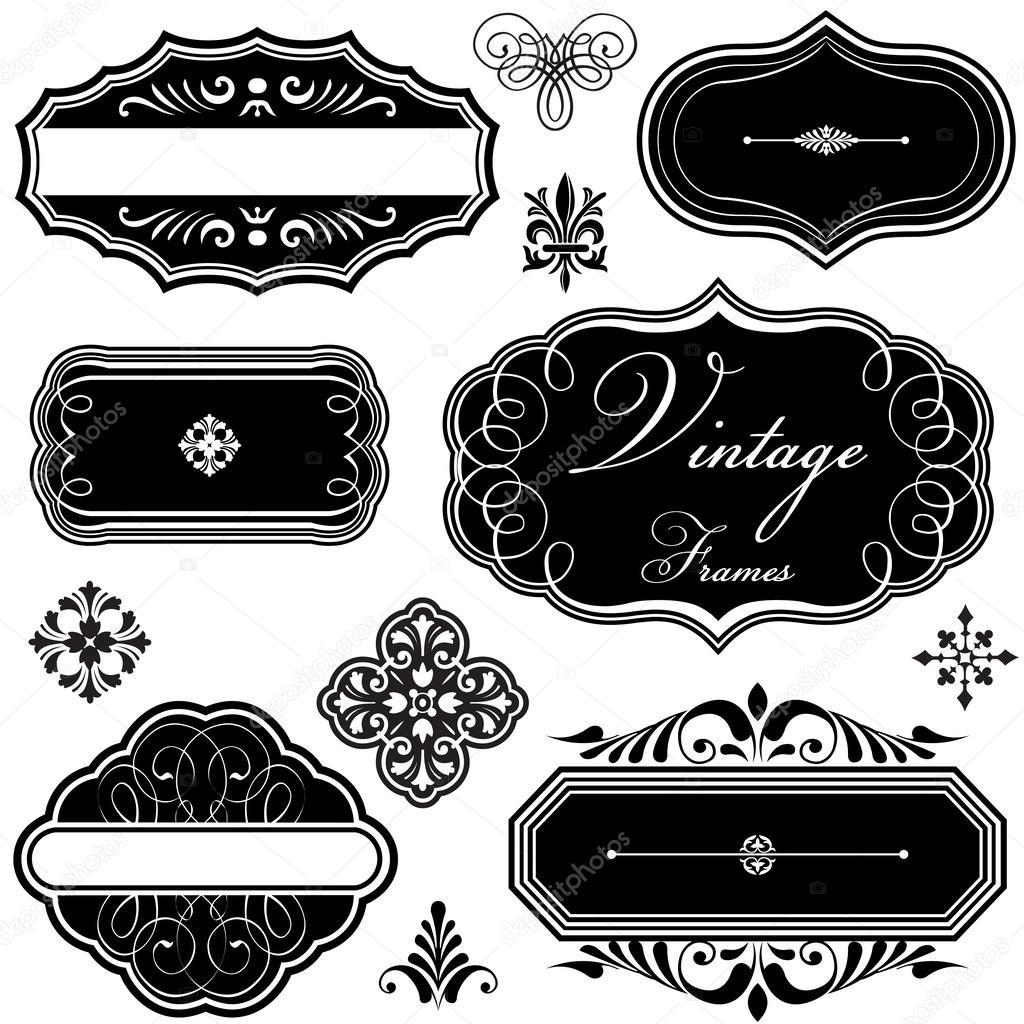 ornamentos y elegantes marcos vintage — Archivo Imágenes Vectoriales ...