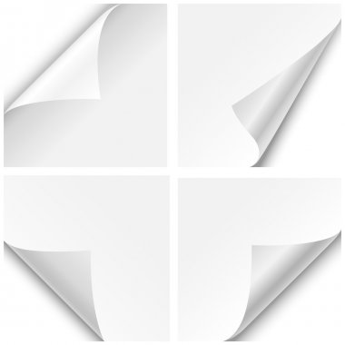 Set of four paper corner folds isolated on white background. stock vector