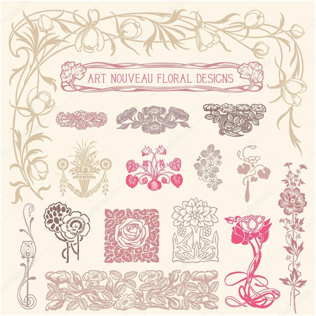 Jugendstil florale ornamente stockvektor giraphics for Ornamente jugendstil