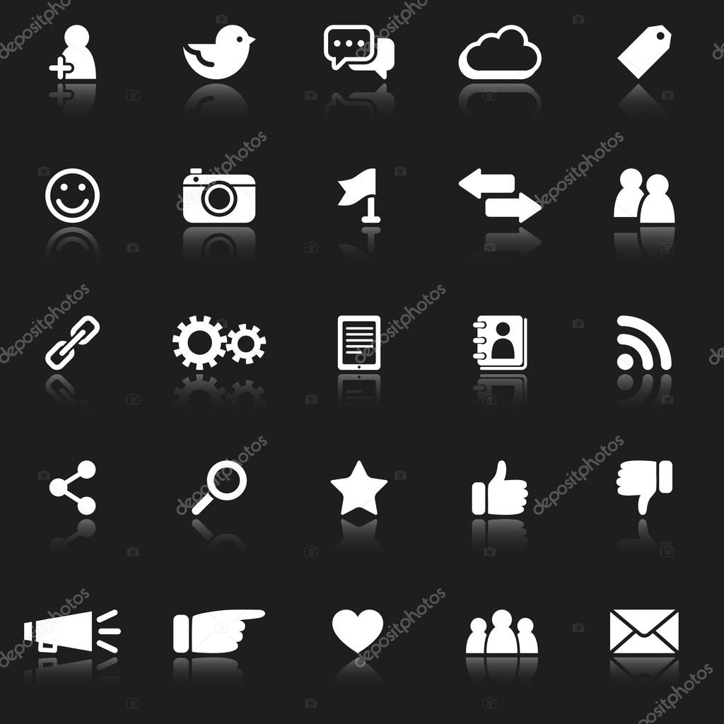 White Social Media Icons With Reflection Stock Vector C Giraphics