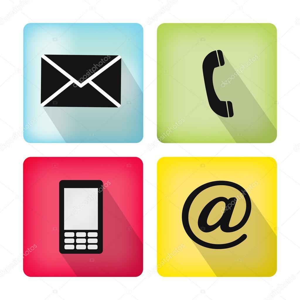 Conjunto de iconos contacto tel fono m vil envolvente for Telefono oficina de correos