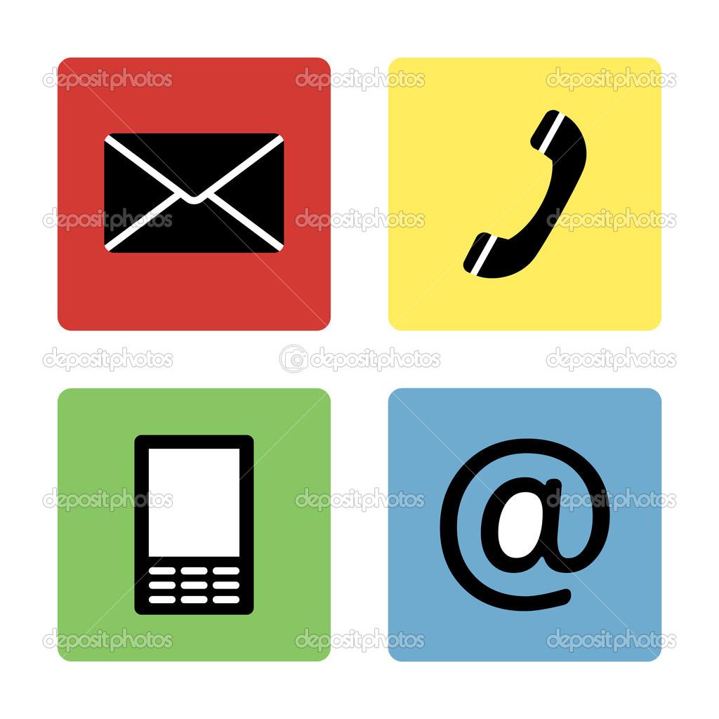 Vector iconos de telefono y correo contacto iconos for Telefono oficina de correos
