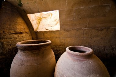 Jars of clay to preserve foods in the cellar