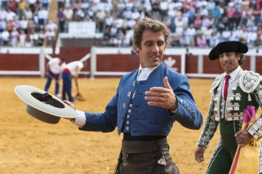 Spanish bullfighter on horseback Pablo Hermoso de Mendoza turning of honor at the Bullring Pozoblanco