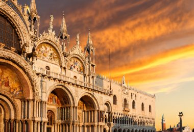 Basilica di San Marco with dramatic sunset, Venice, Italy